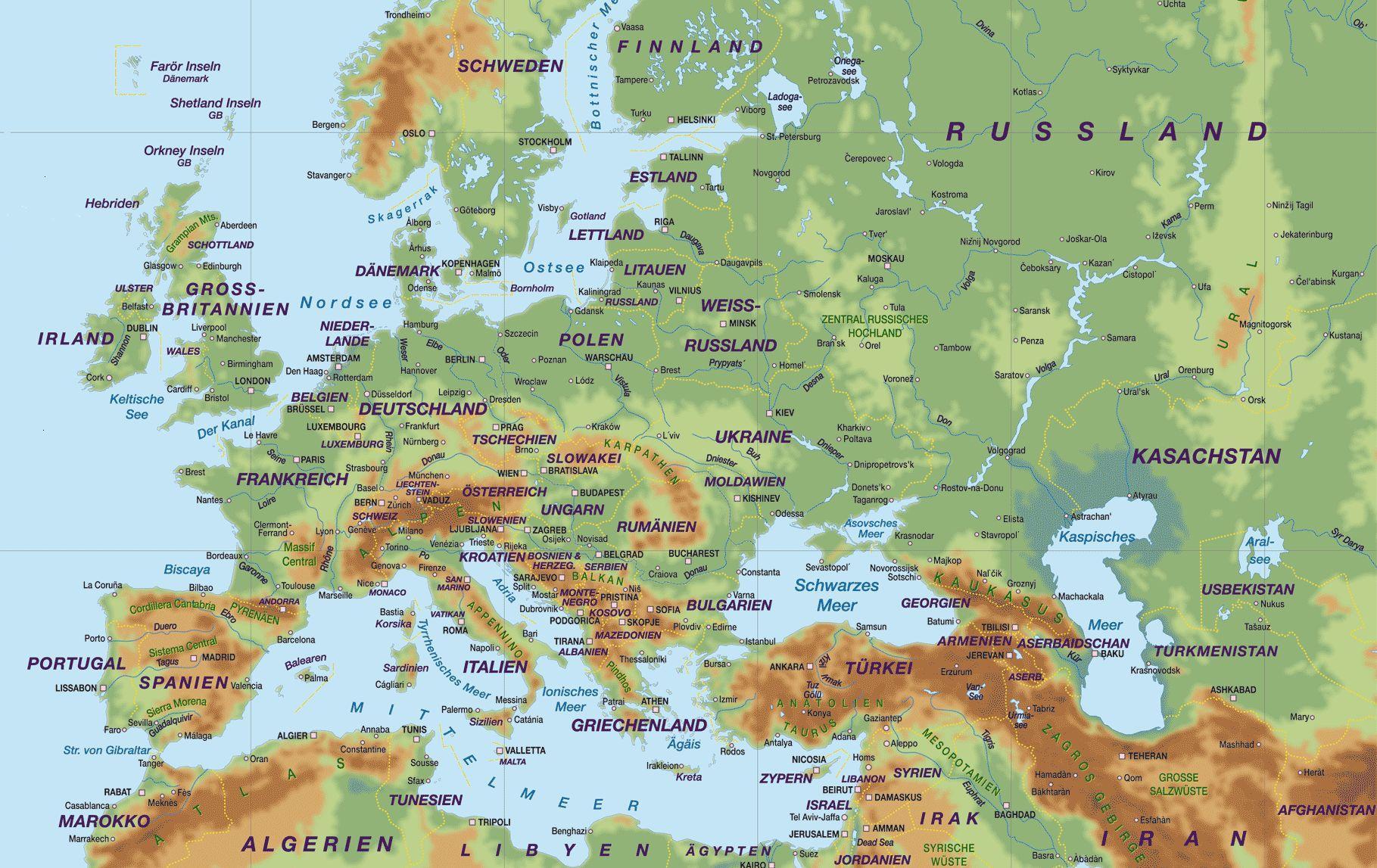 Europakarte Flusse Stadtereisen In Europa
